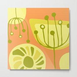 Yellow Folk Floral Print On Tangerine Background Metal Print