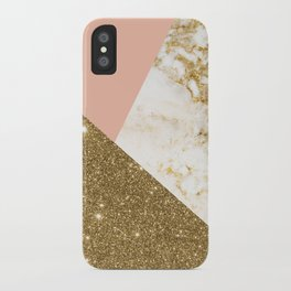 Gold marble collage iPhone Case