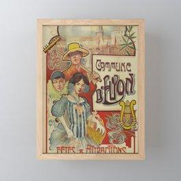 Vintage Placard Lyon Framed Mini Art Print