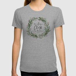 Unto us a Child is Born pine wreath T-shirt