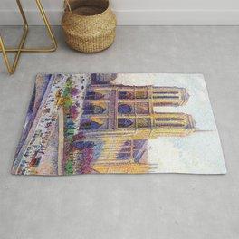 Quai Saint-Michel and Notre-Dame Paris landscape painting by Maximilien Luce Rug