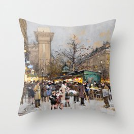 Paris Porte Saint-Denis, Paris, France by Eugene Lalien Laloue Throw Pillow