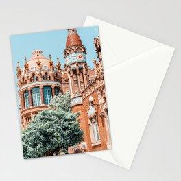Barcelona Tower Detail Architecture Print, Santa Creu Hospital, Sant Pau Landmark Art Print, Urban Modernist Architecture Stationery Cards