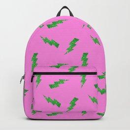 Green Glitter Lightning Bolts in Pink Backpack