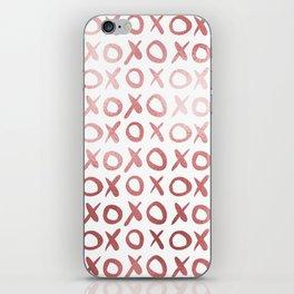 White & Rose Gold XOX Pattern iPhone Skin