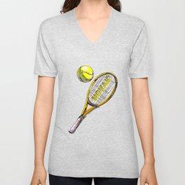 Tennis Rocket Art Novak Unisex V-Neck