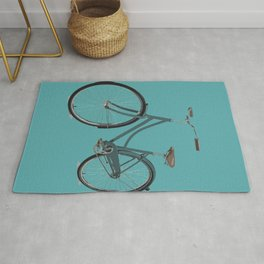 Teal Blue Retro Bicycle Mint Turquoise  Rug