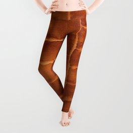 Tobacco-Brown Vintage Leather Textured Pattern Leggings