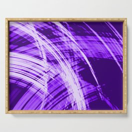 Falling fading fibers of bright lines with eggplant energy of futuristic abstraction Serving Tray