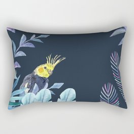 Cockatiel with tropical leaves and dark blue background Rectangular Pillow
