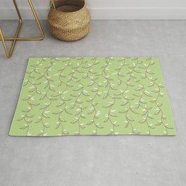 Gentle Green Leaves And Lianas Pattern Rug