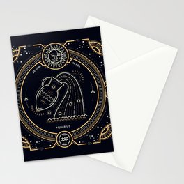 Aquarius Zodiac Golden White on Black Background Stationery Cards