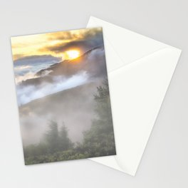 Sunrise and Dust - Mountains - Forest - Wood - Trees - Fog Stationery Cards