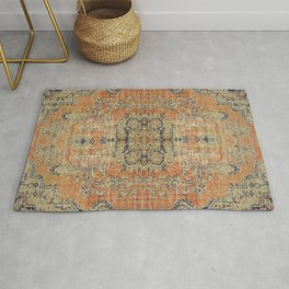 Vintage Woven Coral and Blue Kilim Rug