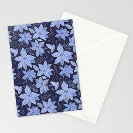 Serene Poinsettia Navy Stationery Cards