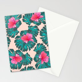 Artsy Tropical Green Teal Monster Leaves Pink Floral Stationery Cards