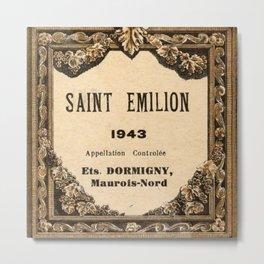 Vintage 1943 Saint Emilion Wine Bottle Label Print Metal Print