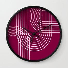 Minimalist Lines & Red BG Wall Clock