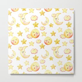 Yellow pink  watercolor dreamy stars moon sun pattern Metal Print