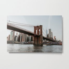 Skyline with Brooklyn Bridge | Colourful Travel Photography | New York City, America (USA) Metal Print