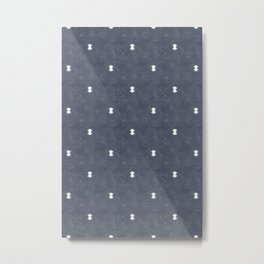 bohemian aztec simple - slate blue Metal Print