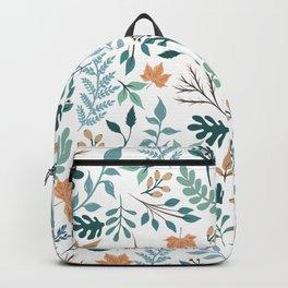 Cute Hand Paint Foliage Green Mint & Orange Design Backpack