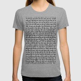 Love Letter Shakespeare Romeo & Juliet Pattern T-shirt