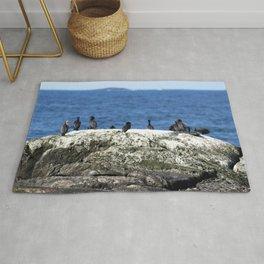 Watercolor Bird, Cormorant 09, Kejimkujik by the Sea, Nova Scotia, Canada Rug