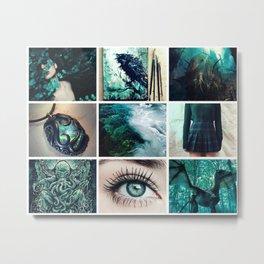 Dark Teal Lovecraftian Moodboard Metal Print