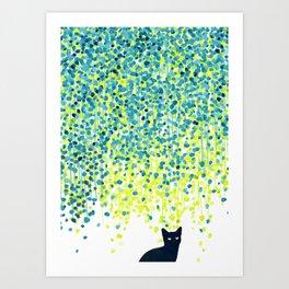 Cat in the garden under willow tree Kunstdrucke