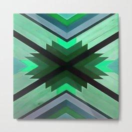 Navaho Vibes Geometric Pattern - Black Pine Aqua Metal Print