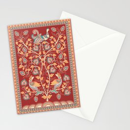 Tree with Peacocks. Indian style. Kalamkari. Stationery Cards
