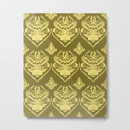 Neptune's joy brass mustard  damask Metal Print