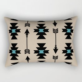 Southwestern Arrow Pattern 253 Black Turquoise and Beige Rectangular Pillow