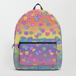 Feminist Valentine Candy Hearts in Rainbow, Not your Babe Backpack
