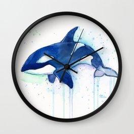 Killer Whale Orca Watercolor Wall Clock