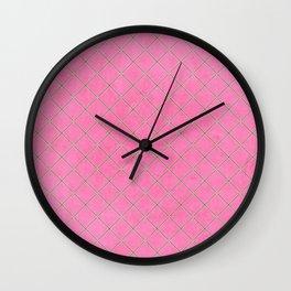 Criss cross - Hot pink Wall Clock