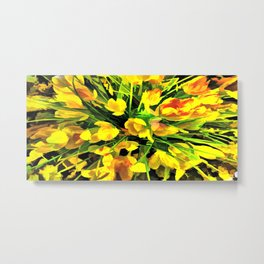Painterly Yellow Crocuses Metal Print