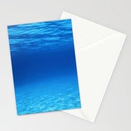 Underwater Blue Ocean, Sandy sea bottom Underwater background Stationery Cards