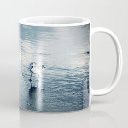 Greetings, Earthling, Blue wash beach, sea birds, wet sand Coffee Mug