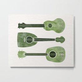 Hawaiian Ukuleles - Emerald Green Metal Print