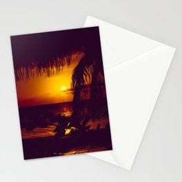 Kamaole Tropical Nights Sunset Gold Purple Palm Stationery Cards