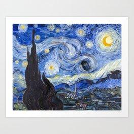 Starry Night with TARDIS Art Print