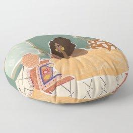 Pampas Grass Pottery Floor Pillow
