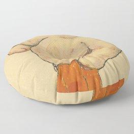 """Egon Schiele """"Ruckenakt mit orangefarbenen strumpfen"""" Floor Pillow"""