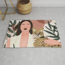 Wild cat woman Rug