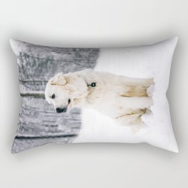 White Dog In The Snow Rectangular Pillow