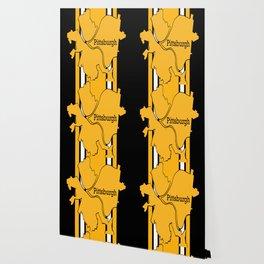 Pittsburgh City Map Black Gold Stripes Wallpaper