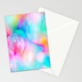 Abstract artistic pink teal watercolor paint bokech  Stationery Cards