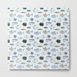 Fish Pattern - Cool Seacoast Watercolor Metal Print